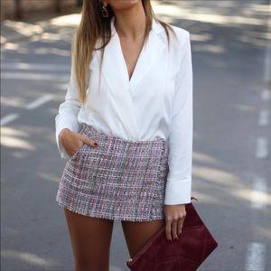 Zara tweed wrapped skort multi size medium